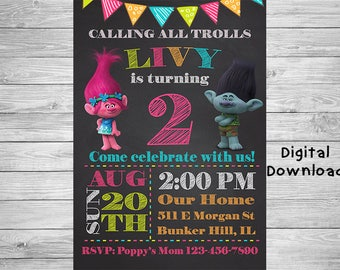 Trolls Invitation - Trolls Birthday Invitation - Trolls Party Decor