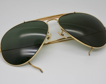 Vintage Bausch & Lomb Ray-Ban Outdoorsman Gold Frame Green Lenses 62mm Aviator Sunglasses Used