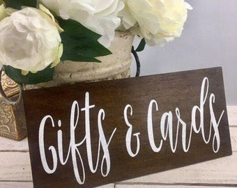 Gifts and Cards Sign-Rustic Wedding Sign-12'' x 5.5'' Sign-Wood Wedding Sign-Rustic Chic Sign