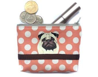 Pug Coin purse, Zipper pouch, Small card case, Fabric pouch, Dog gift, Dog lover, Polka dot fabric