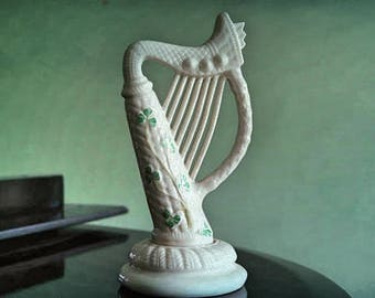 Belleek Ireland 8.5 inch Harp   Gold backstamp  Excellent