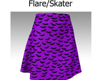 Halloween Skirt, Purple Skirt, Bat Skirt, Bat Pattern, Flare Skirt, Skater Skirt, Fitted Skirt, Bodycon Skirt, Short Skirt, Easy Costume