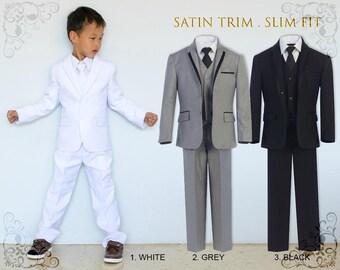 Slim Fit Premium Boys 5-Piece Suit Tuxedo with Satin Trim, Jacket Vest Pants Shirt Tie, White Grey Black, Wedding Communion