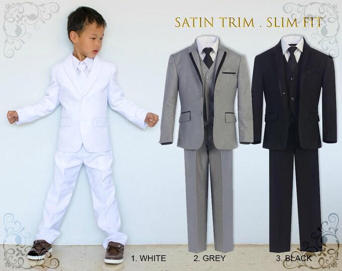 Featured listing image: Slim Fit Premium Boys 5-Piece Suit Tuxedo with Satin Trim, Jacket Vest Pants Shirt Tie, White Grey Black, Wedding Communion