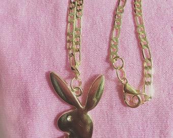 CHOKER//The Gold Cali Choker Bunny CHARM // 18kt GP Chain Vintage Style Choker// Free Shipping & Gift!!!