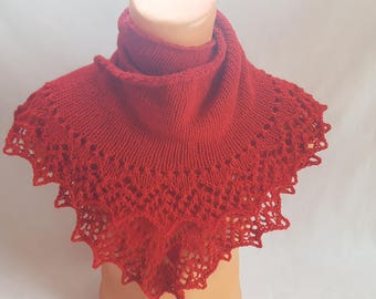 Knitted shawl Shawl as a gift Gift for girlfriend Beauty gift  Hand Knit Lace wrap shawl Red Shawl Gift for her  Winter shawl Warm shawl
