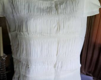 Vintage 1960s Off-White Blouse Ruched Blouse  38