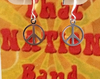 That NATION Band Silver Plated Peace Sign Earrings