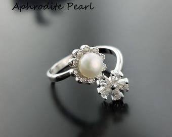 Zircon solid sterling silver ring setting, ring blank, ring mount without pearl, flower pattern, jewelry DIY, gift DIY