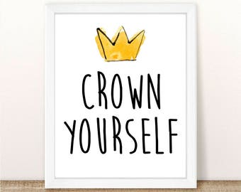 """Crown Yourself Printable Sign. Where The Wild Things Are Birthday Party or Baby Shower. 8"""" x 10"""" . Instant Download."""