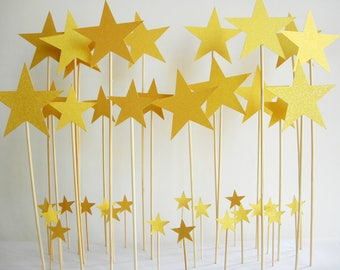 Golden Christmas stars. Christmas. Marriage. Party 38 pieces.