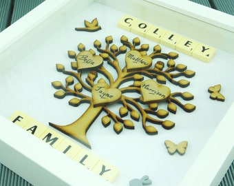 Family tree frame Family tree scrabble wall art Family tree wall art scrabble frame gift Fathers Day Gift Present Birthday Anniversary Gifts