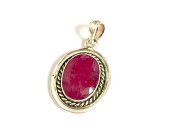 Ruby pendant , silver ruby necklace, ruby jewelry, red pendant, ruby necklaces, gift ideas, gift for her, tribal necklace