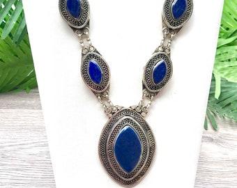 Lapis lazuli long necklace, Afghan jewelry, Kuchi necklace, lapis pendant necklace,bohemian statement necklace, free shippin, sale, gpsy