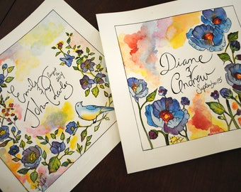 Personalized Wedding Floral Watercolor