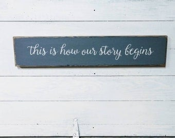 This Is How Our Story Begins Sign, Family sign, wood sign, family photo collage sign, family gift, wedding sign, wedding gift, rustic sign