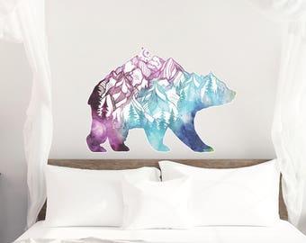 Watercolor Bear Mountain Silhouette Vinyl Wall Decal, Vinyl Wall Decal, Large Wall Decal, Oversized Wall decal, Bear decal