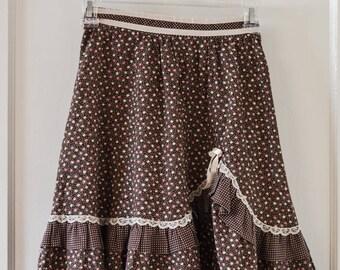 Vintage GUNNE SAX Skirt by Jessica McClintock Little Girls True 70s Flower Child Boho Hippie Kids, Brown Prairie Skirt