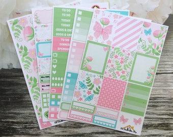 """Butterfly Weekly Kit / """"Secret Garden"""" / EC Vertical / Summer Planner Stickers / A La Carte"""