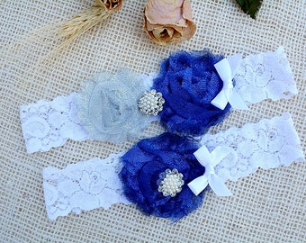 White Blue Garter, Grey Blue Garter, Glitter Garter Set, Blue Bridal Set, Somethig Blue, Garter For Wedding, Garter Set, Royal Blue Garter