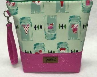 SALE Cheers Project Bag - Cotton + Steel - knitting/crochet/zipper pouch