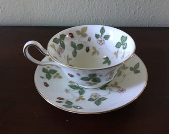 Wedgwood Wild Strawberry Peony Teacup and Saucer