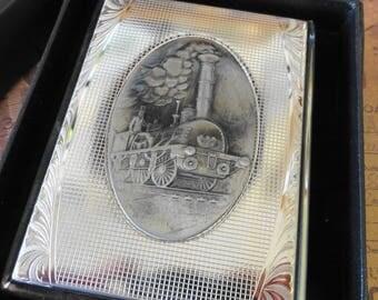 Vintage Like New Metal Antique Train Prometheus Cigarette Case with Original Box
