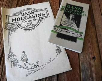 1924 Bass Moccasins & 1932 Bass Outdoor Footwear Catalogs Price List Wilton Maine Lot 2 Ea.