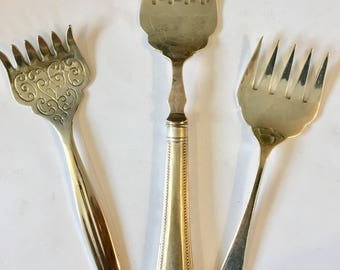 set of three different sardine forks  curious victorian flatware