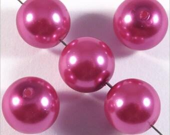 20 10mm fuchsia pink Czech glass pearls