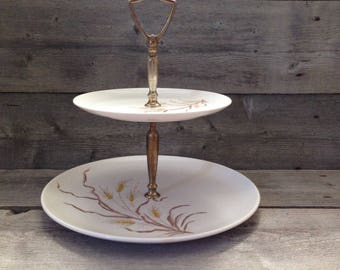 Vintage Miramar Melmac Tiered tray | Wheat Design | Melamine Tray