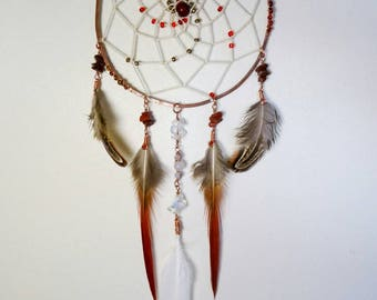 Dream catcher copper hammered and cotton thread.