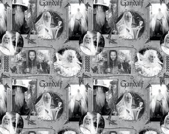 CAMELOT The Hobbit & The Lord Of Rings  Gandalf and Aragorn on Gray Grey 100% cotton Fabric by the yard (CA617)