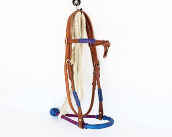 Handmade Purple & Blue Leather Rawhide Bosal Lead Western Horse Trail Bridle Headstall Tack Made To Order