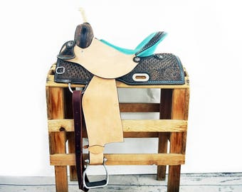 "Custom 15"" Turquoise Green Rough Out Handmade Western Horse Pleasure Trail leather Saddle"