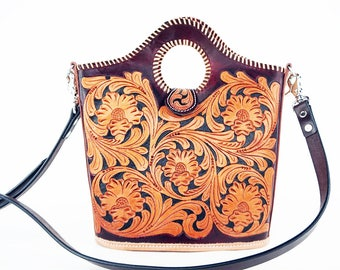 Handmade Classic Floral Tooled 2 Tone Leather Shoulder Hand Bag Western Style Fashion Purse
