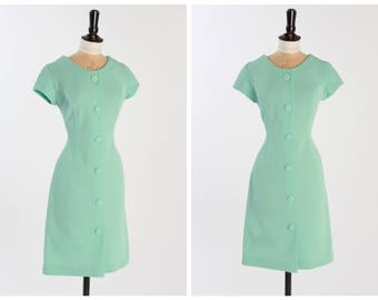 Vintage 1960s 60s Blue Button Dress