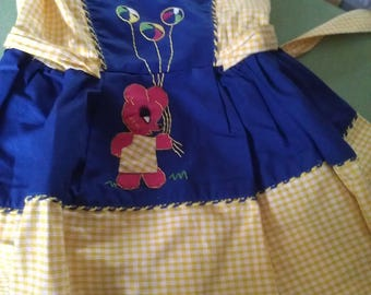 girl dress yellow gingham with embroidered Teddy bear from 1950 s.