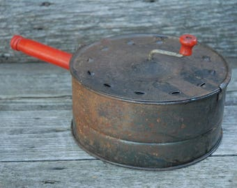 Vintage E-Z Corn Popper, Antique Popcorn Popper, Primitive Popcorn Popper
