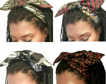 Vintage 50's Retro Rockabilly inspired wired hair head band, head tie. Kente Ankara Wax Kitenge Ethnic Colours.