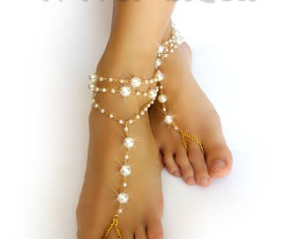 Dancing Pearls Barefoot Sandals. Foot Jewelry. Gold Chain. White Pearls. Boho Chic Anklets. Beach Wedding. Festival Body jewelry. 2 pcs.