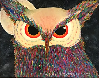 Colorful owl painting, acrylic, bright, painting, original art, canvas, 16x20 inches, hand painted