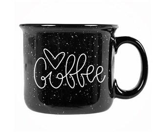 Campfire mug / 14 ounce mug / Coffee mug / Camp fire mugs / Coffee campfire mug / Gift for her / coffee lover gift / black mug