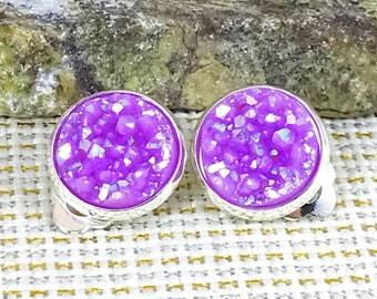 Lilac Druzy Clip On Earrings - Druzy - Clip On Earrings - Non Pierced Ears - Earrings Clip On - Druzy Earrings - Drusy - Druzy Jewelry