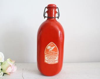 Vintage French Red Water Bottle/Flask - Le Grand Tetras - 1L - Camping Item