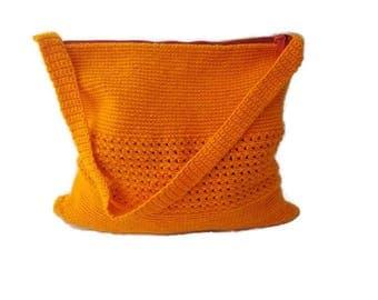Carry-all Orange Crochet bag