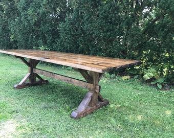 Farmhouse Table, Farm Table, Rustic Farm Table, Rustic Dining Room Table, Long Farm Table, Pedestal Farm Table, Barn Table, Wooden Table