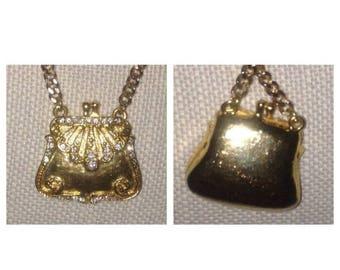 On Sale Vintage Rhinestone Purse Necklace