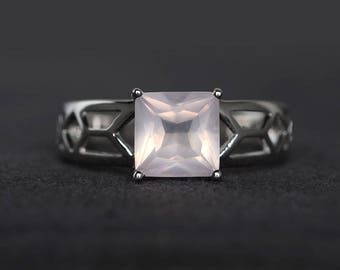 solitaire ring natural pink quartz ring engagement ring square cut pink gemstone sterling silver ring