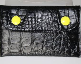 Wallet / pressure black faux leather card holder yellow